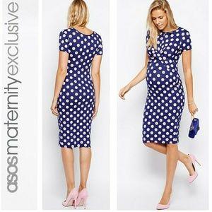 ASOS Maternity Body-Conscious Dress In Polka Dot